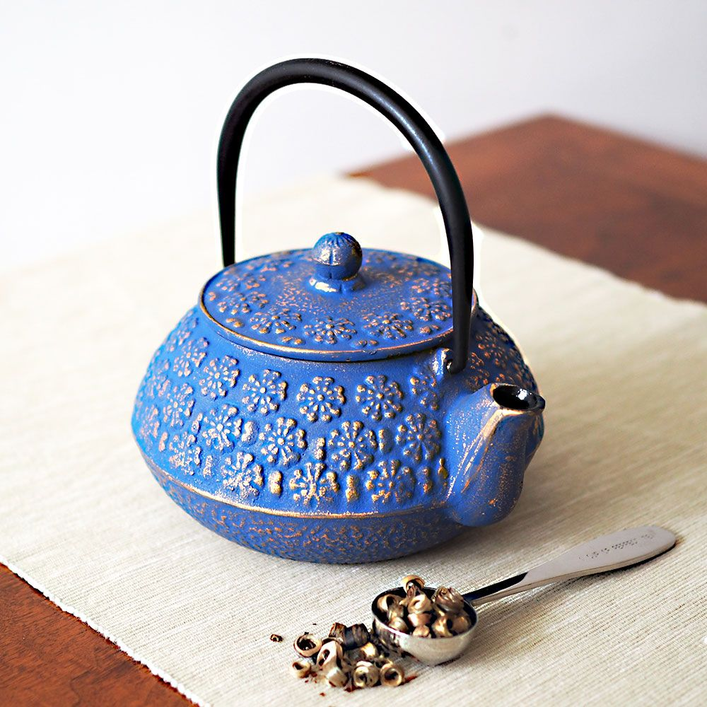 mizu cast iron blue teapot