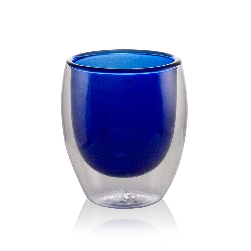 Blue Glass Tea Cup | Double Wall