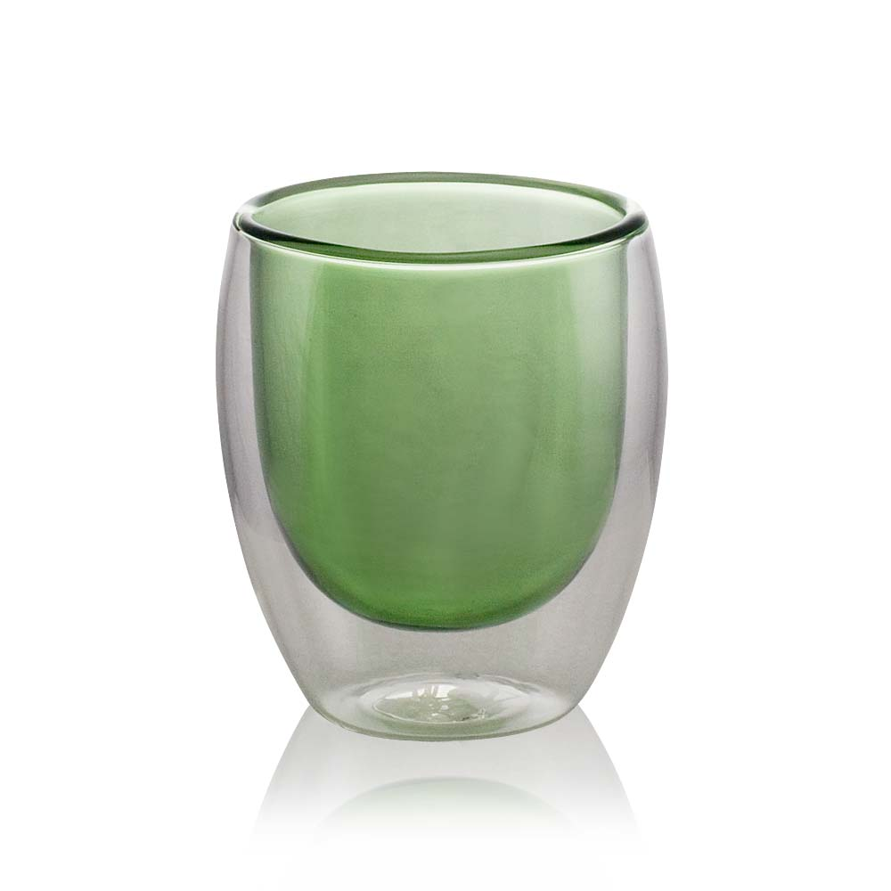 Green Double Wall Glass Cup | Tea Cup