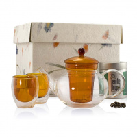 Orange Glass Tea Set