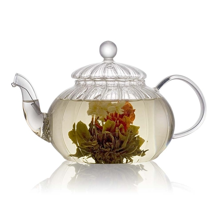 Ribbed Glass Teapot