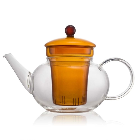 Classic Orange Glass Teapot