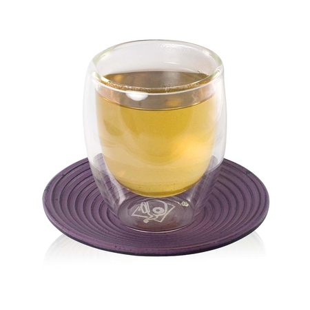 Glass Cup and Purple Saucer